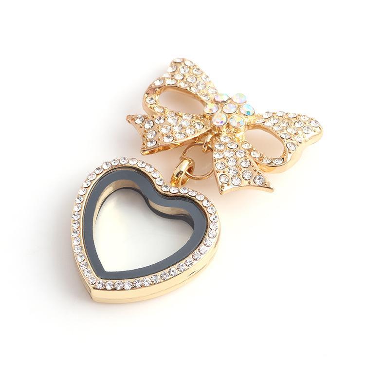 Sıcak Kalp Ilmek ile yüzen madalyon Elmas Kristal kolye DIY Kişilik retro Kolye Için charm lockets
