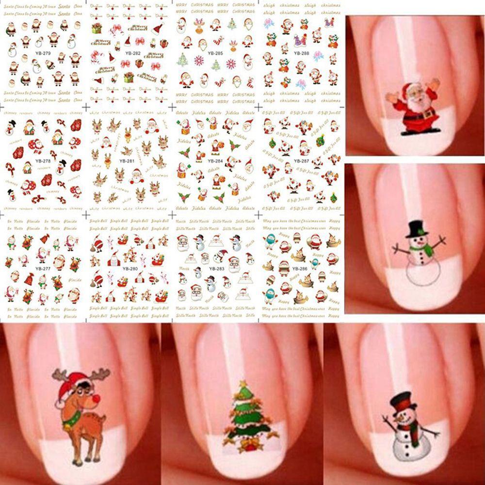 12 Sheet Christmas 3D Nail Art Stickers Snowflakes & Cute Snowmen ...