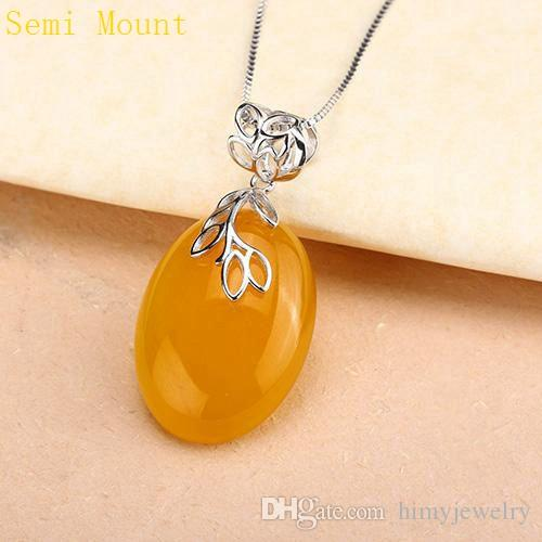 Sterling Silver 925 Plated White Gold Party Pendant Clasp Fine Jewelry Semi mount for Amber Agate