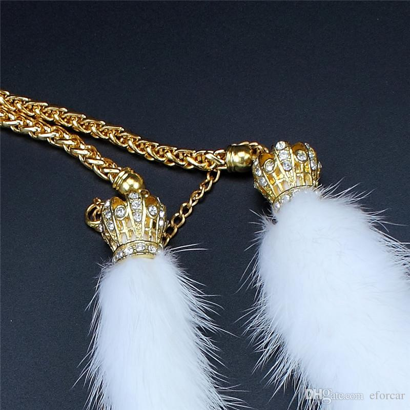 Mink Hair Car Rear View Mirror Luxurious Pendant Ornament with Crystals Crown Exquisite Cute Gift for Female
