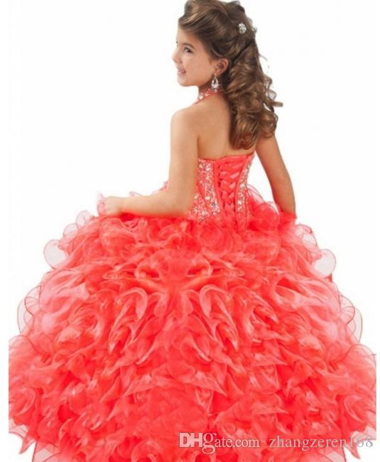 Comunion long gowns ball toddler girl beautiful pageant dresses gowns to the little girl robe fille glitz