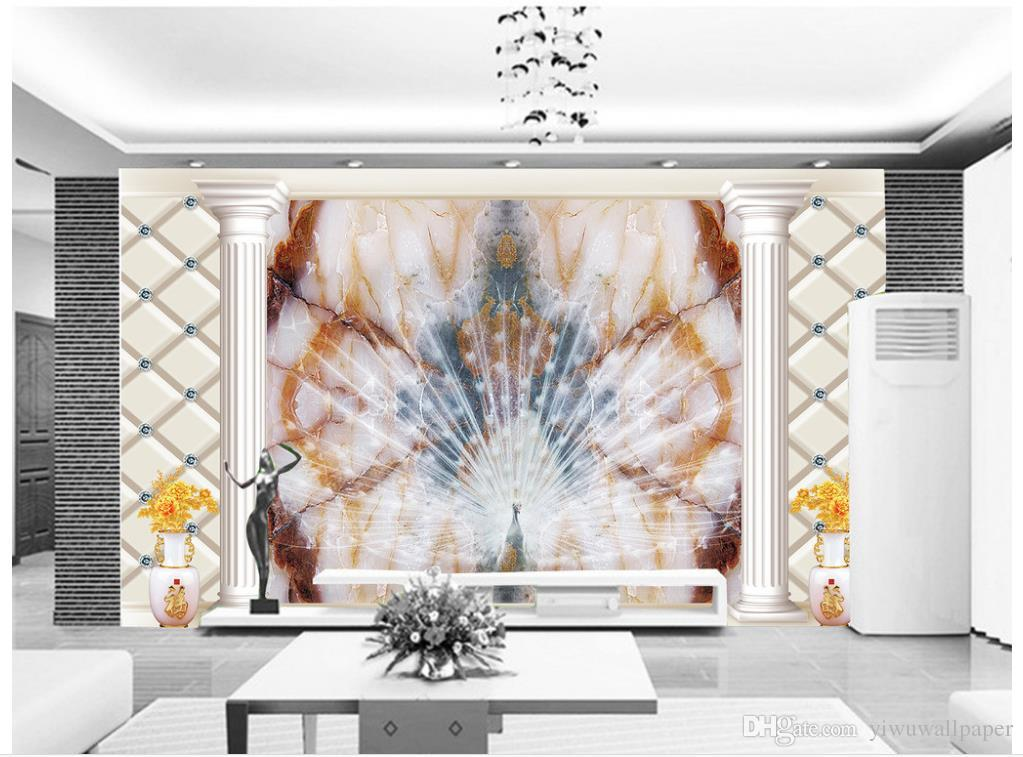 Papel pintado 3d para la habitación de alta calidad de mármol pavo real pantalla abierta telón de fondo de pantalla de TV personalizada fondo de pantalla para paredes 3d papel pintado personalizado