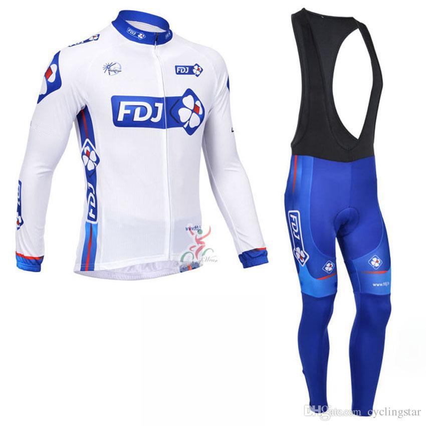 fdj cycling jersey team cycling clothing quickdry mtb bike bib pants set with gel pad tour de france long sleeve ropa ciclismo B1610