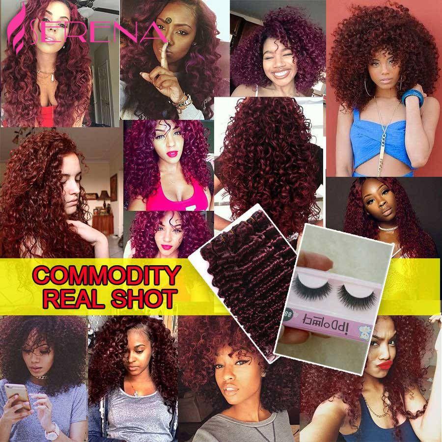 Grade 7a Malaysian Red 99j tiefes lockiges reines Haar-Verlängerungs-Los tiefes lockiges Haar Burgunders, das für sexy Art- und Weisefrau spinnt