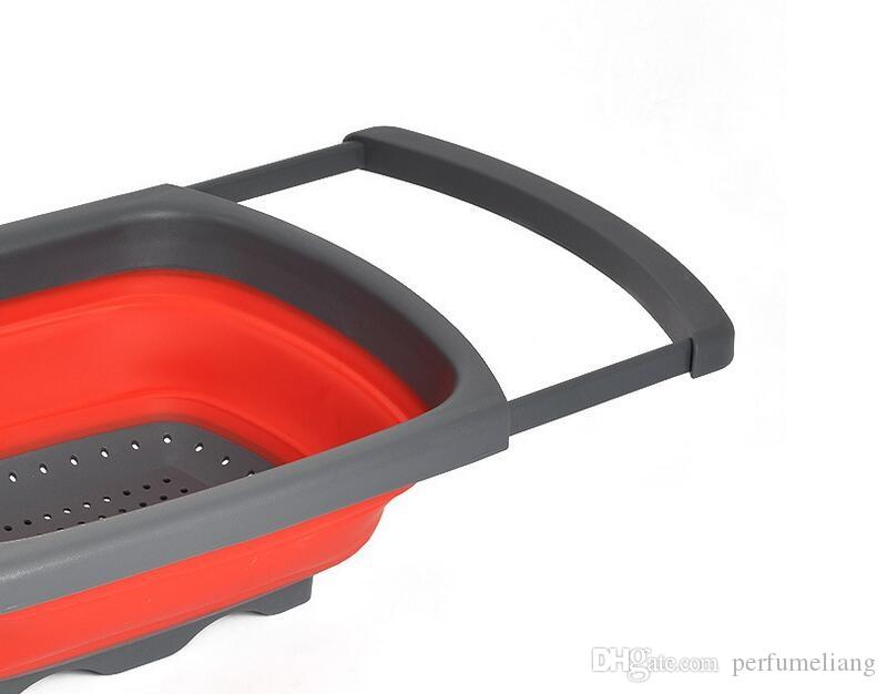 Kitchen Collapsible Silicone Colander Strainer Sink Basket Funnel Cooking Water Drainager Basket Gadget ZA3419