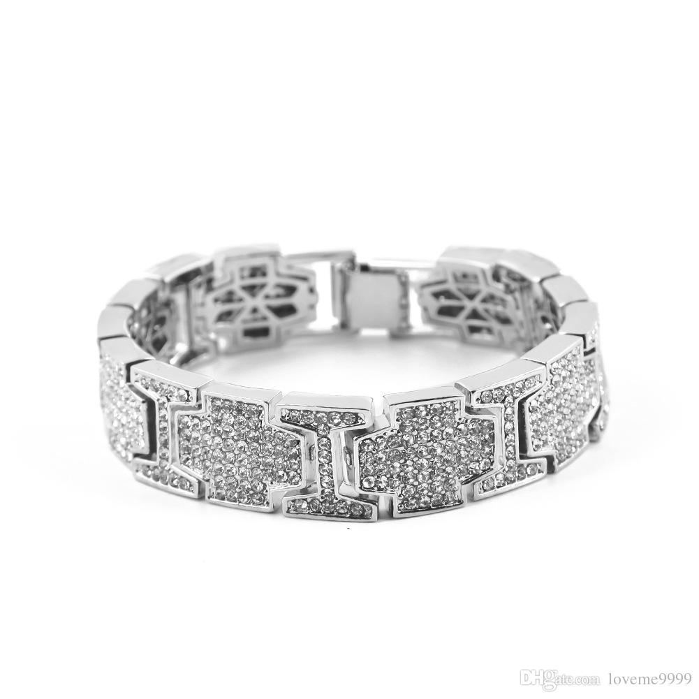 Mens Womens Hip Hop Breites I Quadrat Kreuz Form Strass Armband Armreif Bling Imitation Diamant Ketten Link Armbänder Schmuck