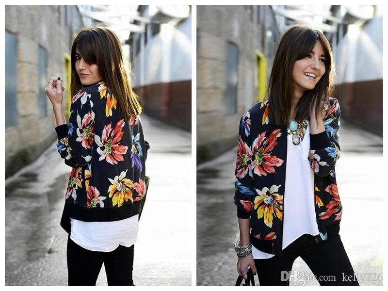 2017 2017 Spring New Fashion Digital Floral Print Women Bomber ...