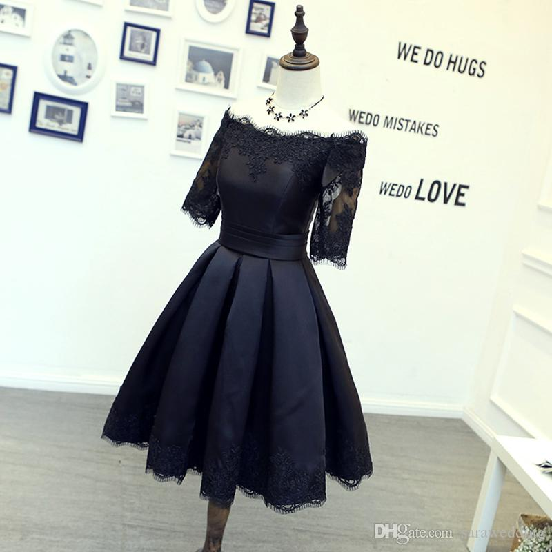 Short Satin Cocktail Dress With Lace 2018 Half Sleeves Ball Gown Party Dress Lace Up Back