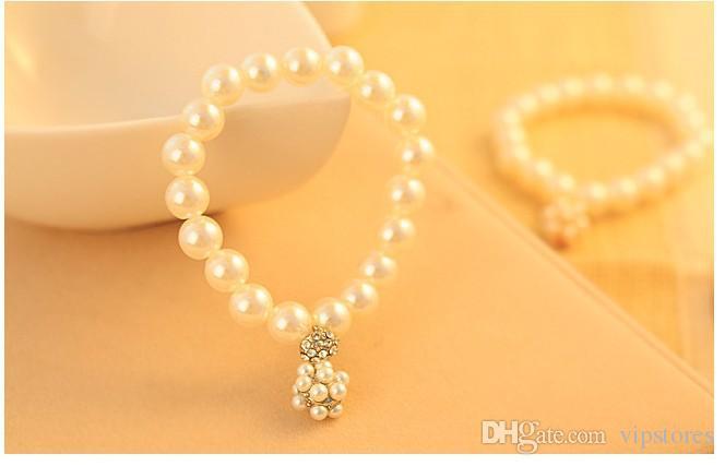Элегантный жемчужный шар Шарм браслеты Кристалл бисером пряди браслеты горный хрусталь золото серебро жемчуг браслет Браслет для свадебных ювелирных изделий