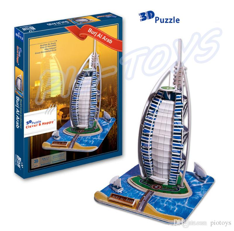 New Year Gift Dubai Burj Al Arab 3D Puzzle Hotel Puzzle Dhow Sail Frame 7-star Building Model DIY Toy Luxury Collection Present