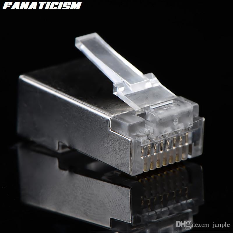 /ロット最高品質メタルシールドRJ45 8P8C CAT5EモジュラープラグネットワークRJ-45 CAT5イーサネットLANケーブルモジュラープラグアダプタコネクタ