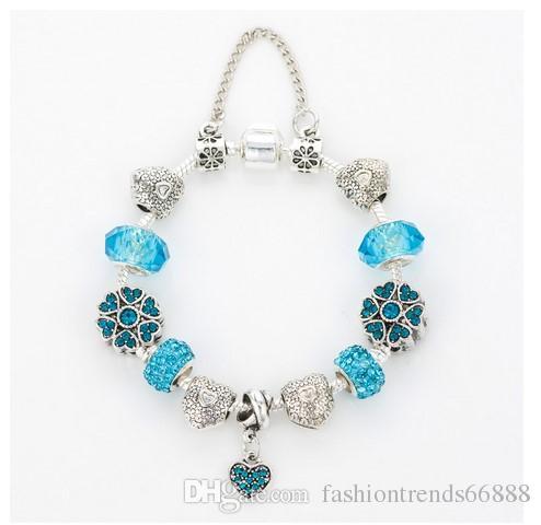 Fashion 925 Sterling Silver Sky Blue Murano Lampwork Glass & Crystal European Charm Beads Fits Pandora Charm bracelets Style Bracelets