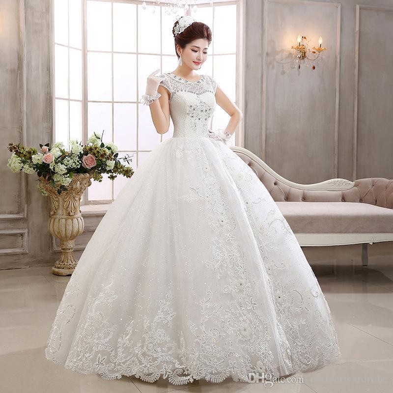 New Design Ball Gown Luxury Princess Wedding Dresses Cap Shoulder ...