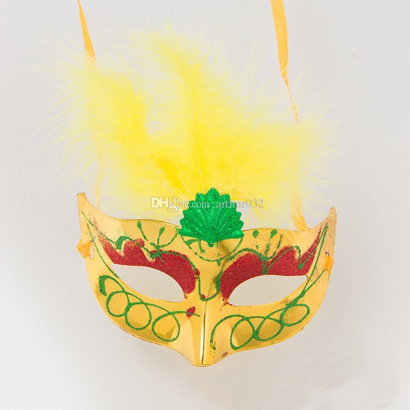 Sevimli Güzel Mini LED Tüy Maske Seksi Cadılar Bayramı Dekorasyon Venedik Masquerade Parti Çiçek Boncuk Prenses Lady Kadınlar Kız Çocuk Hediye Iyilik