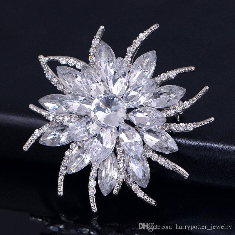 Austrian Crystal Brooch Pins For Women Top Quality Flower Broches Jewelry Fashion Wedding Party Bijoux Broche Femme Drop Ship 170805