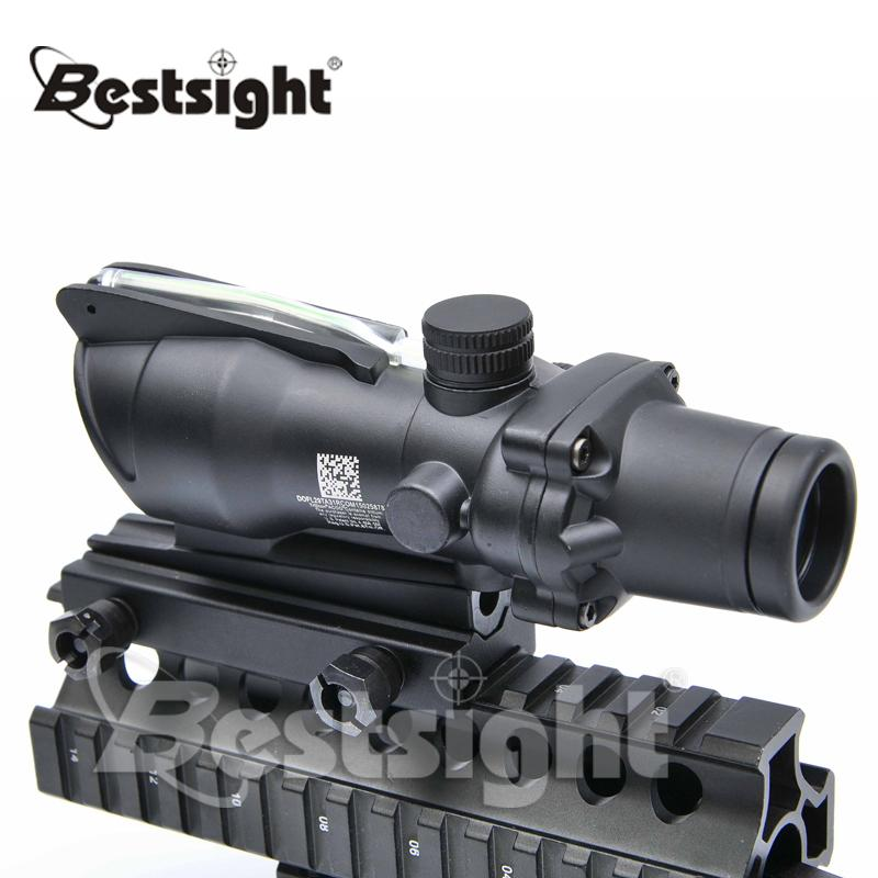 Trijicon ACOG 4X32 Red Dot Sight Tactical Optical Rifle Scope Real Fiber Optics Green Iluminado Crosshair Scope Scopes