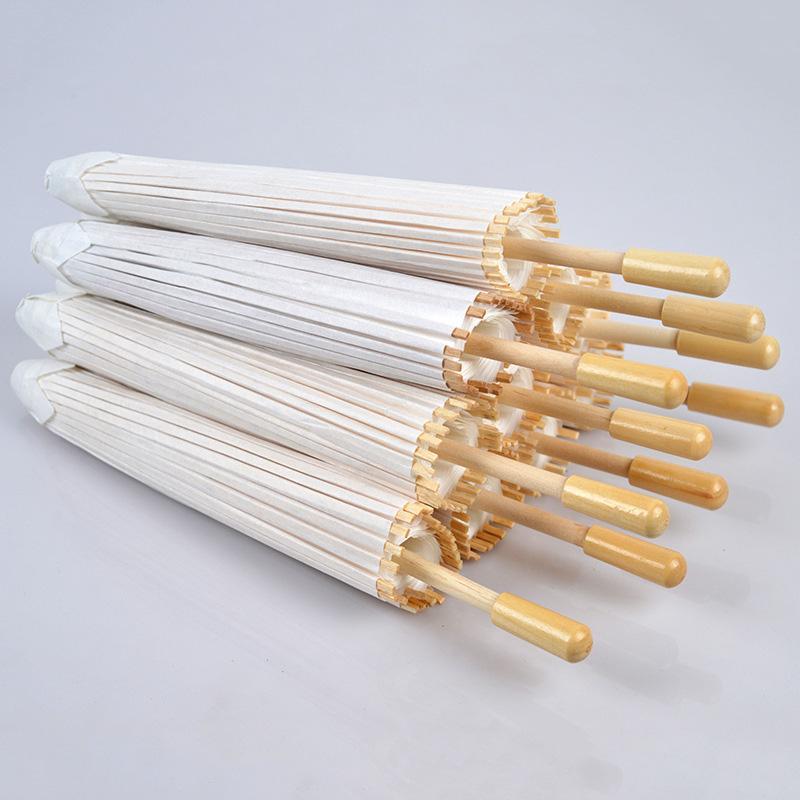 Eco-friendly Paper Umbrellas White Color Long-handle Bridal Wedding Umbrellas Chinese Mini Craft DIY Umbrella 20cm 30cm 40cm 60cm 3002008
