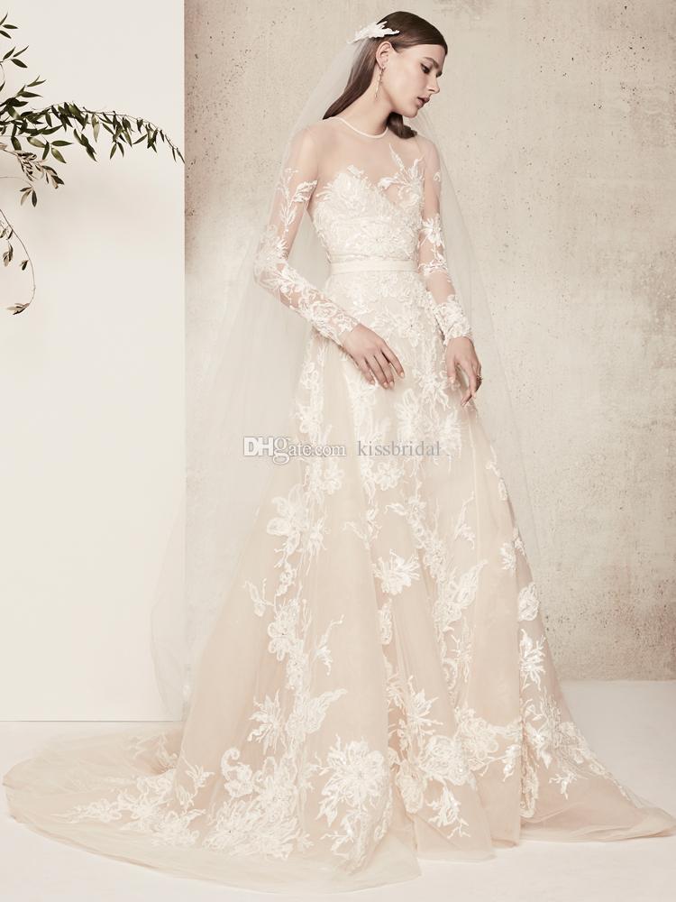compre 2018 elie saab vestidos de novia de encaje de manga larga de