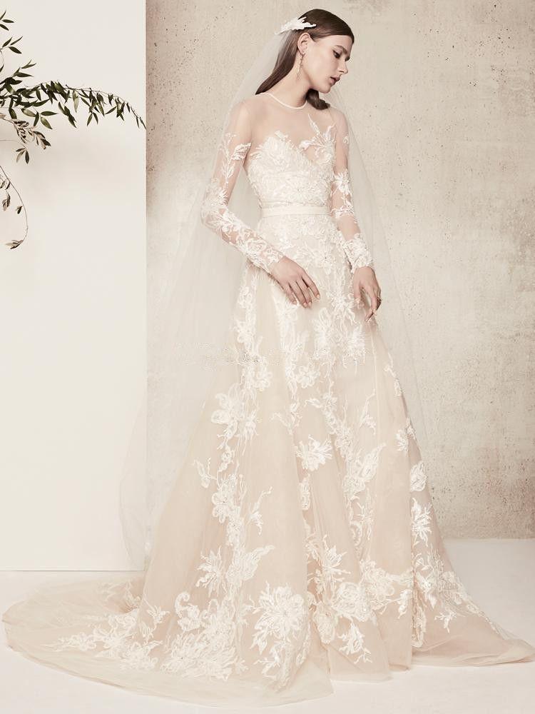 Elie Saab Wedding Dresses.Elie Saab Lace Wedding Dresses Vintage Long Sleeves Lace Formal Summer Beach Bridal Gowns Jewel Neck Covered Button