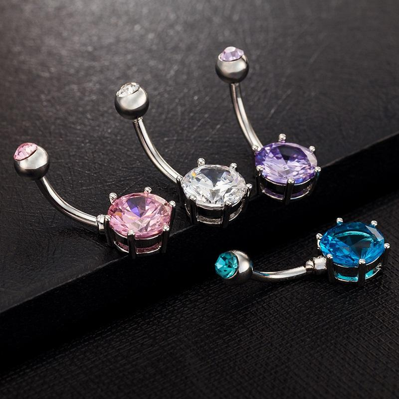 Wholesale Mixed Sexy Blue Crystal Belly Bars Belly Button Rings Belly Piercing Zircon Gift Body Jewelry Navel Piercing Rings