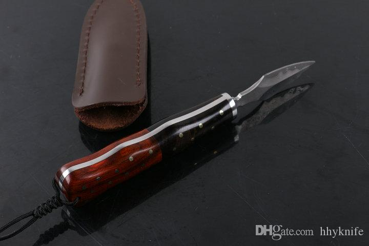 New Arrival Damascus Steel Tea Knife Rosewood Handle Fixed Blade Knives Best Gift For Tea Friends With Genuine Leather Sheath