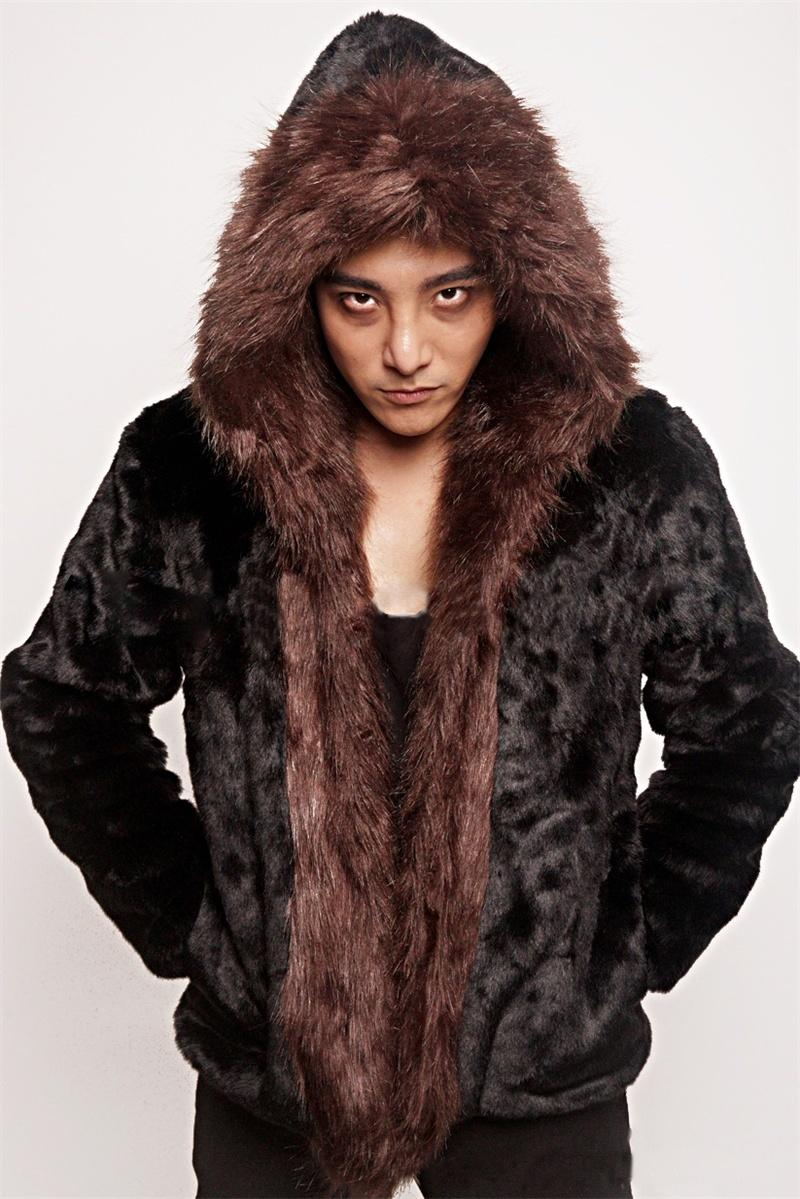 2016 Black Men Fake Rex Rabbit Fur Coats Faux Brown Fox Fur Collar ...