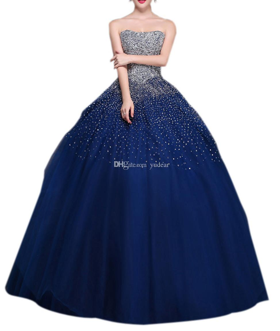 New Fashion 2019 Donne Quinceanera Abiti Bling Bling Liste Crystal Star Senza Bretelle Abiti Debuttanti Sexy Aperto Indietro Lace Up Dress per Prom