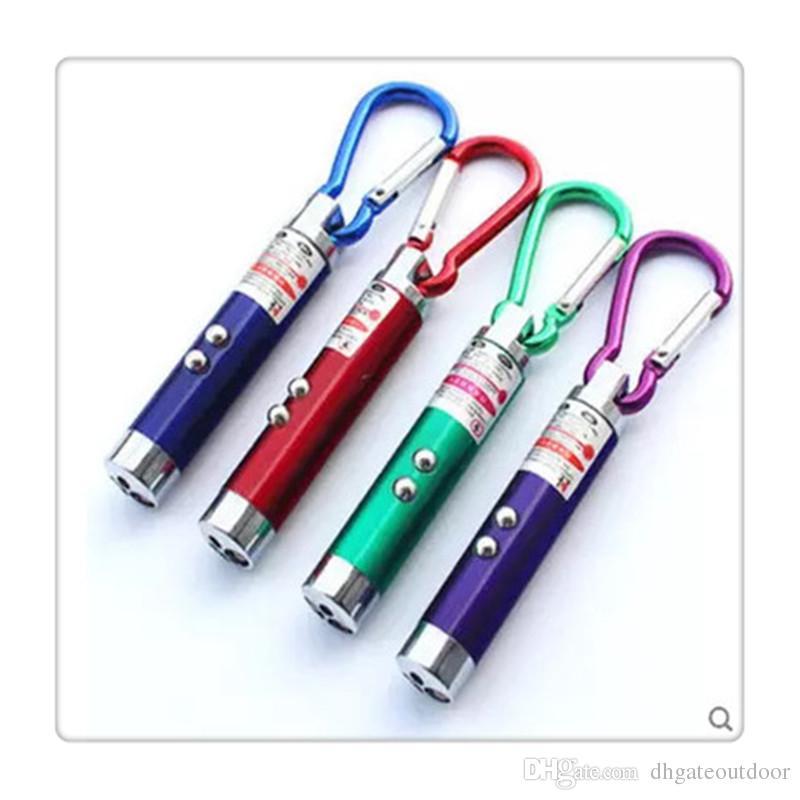 Outdoor LED Flashlight 3 In 1 LED Light Red LED Laser Pen Pointer Flash Light Torch Flashlight Emergency Keychain Flashlight