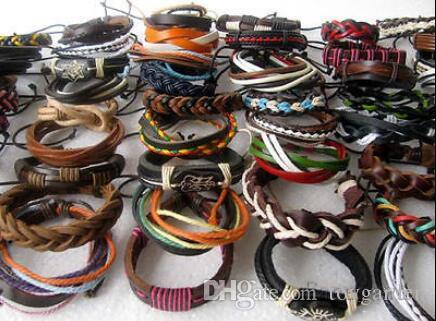 Lotes de 10 piezas de estilo mixto Puño de surfista pulseras étnicas de cuero tribales Wholesal