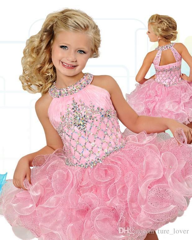 Fashionable Glitz Cupcake Girls Pageant Dresses Pearl Pink Flower Girls Dress Wedding Birthday Party Gowns Mini Custom Made 2016