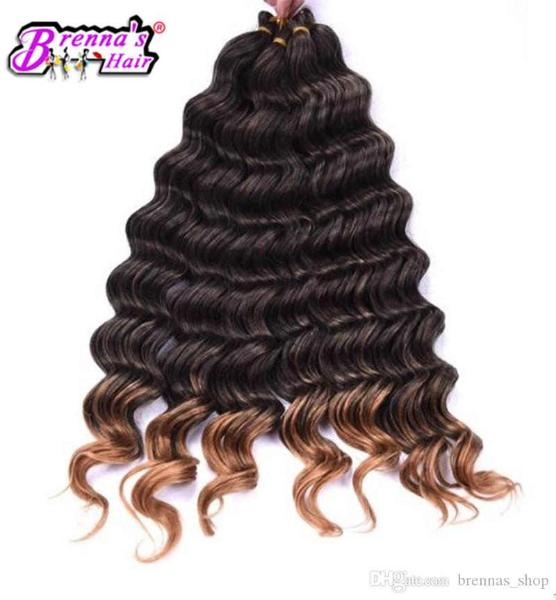 Dark Brown Synthetic Ombre Braiding Hair Extensions Deep Wave Crochet Braids Hair bundles Syntheti weave to USA AMERICA UK