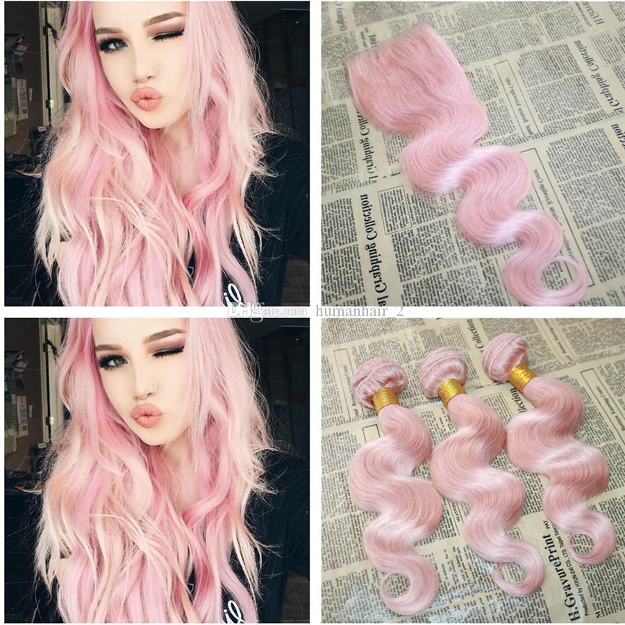 새 도착 핑크 인간의 머리카락 레이스 폐쇄와 함께 브라질 바디 웨이브 헤어 익스텐션 4 * 4 레이스 탑 폐쇄 로즈 핑크 머리 뭉치