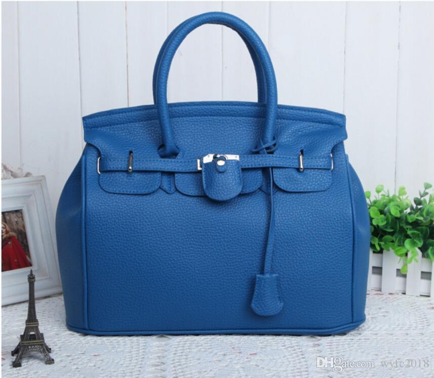Bolsos de mano de hombro elegante de la señora Women Celebrity PU Leather Totes Handbag de la manera de la moda con el bloqueo