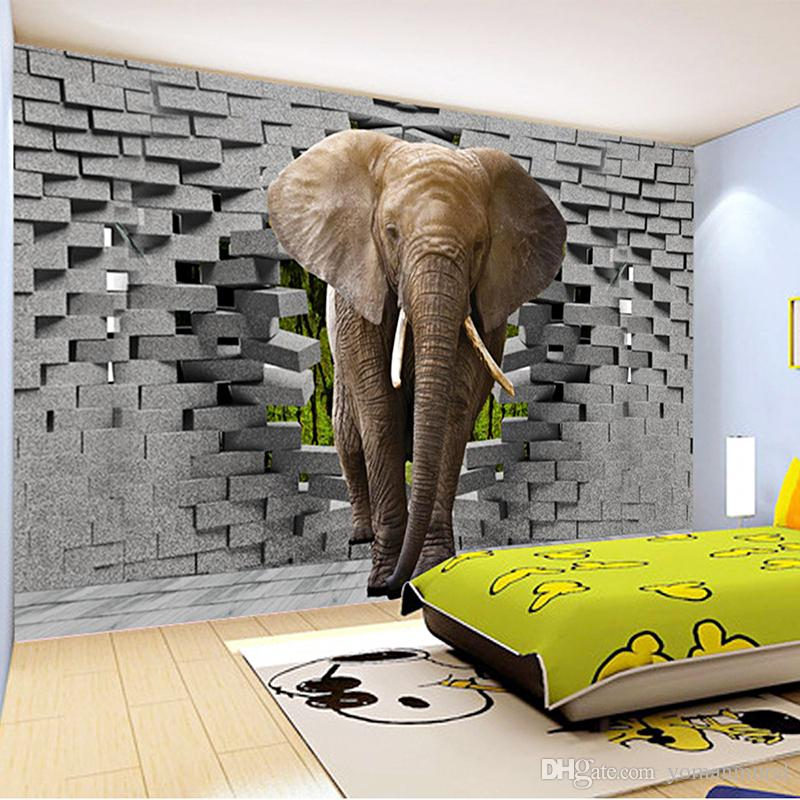 Custom 3d Photo Wallpaper Lifelike Elephant Wall Breaching Art Wall