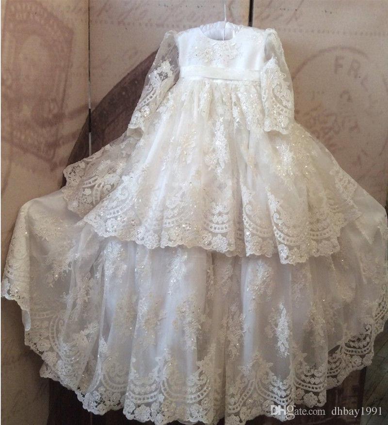 e5cc08e5ab6da3 2019 Aktuelle Bilder Vintage Baby Mädchen Taufkleid Spitze Perlen Taufe  Kleid Mit Mütze Weiß Elfenbein Kostenloser Versand