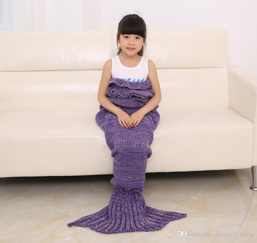 Children Kids Knitted Mermaid Tail Blanket Crochet Blanket Sofa Bed Warm Knitted Throw for Winter Spring Autumn 140x70cm