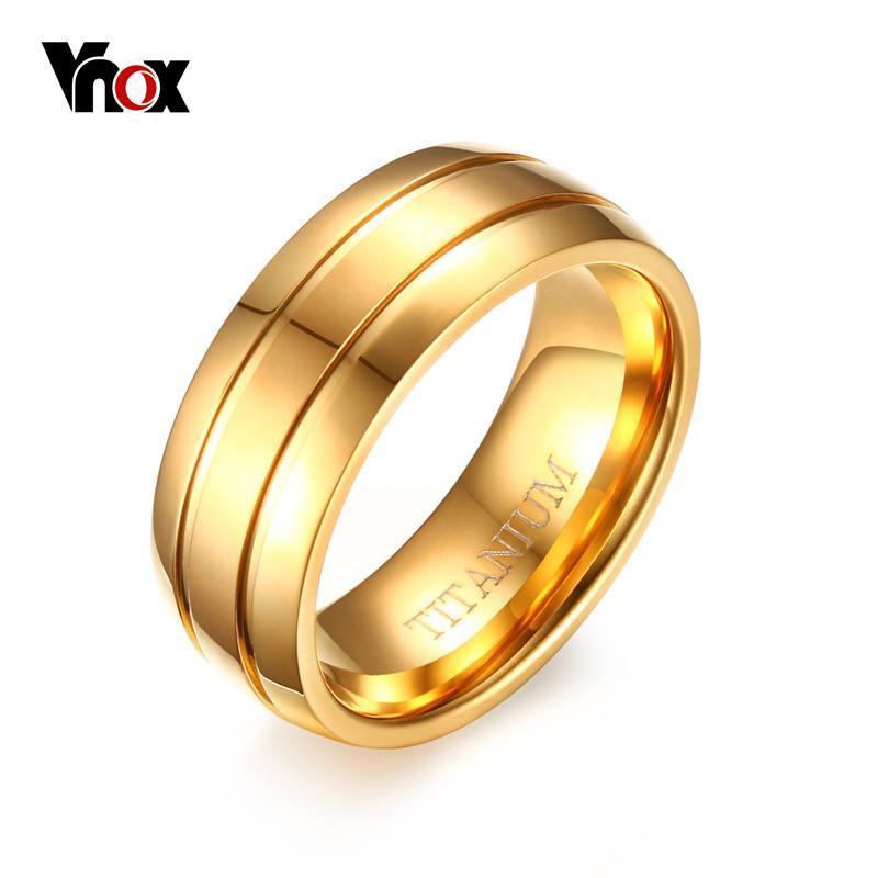 996579654db VNOX Pure Titanium Ring Gold Plated Men Rings 8MM Black Titanium Ring Matte  Finish US Size 9 10 11 12 Engagement Ring Settings White Gold Rings From ...