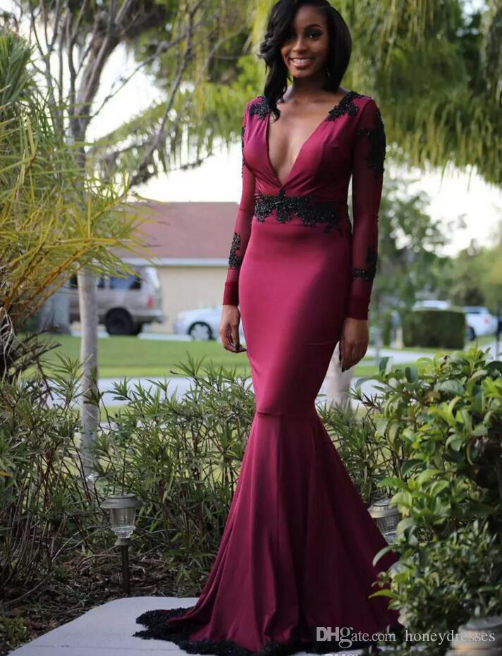 Sexy Deep V Neck Prom Dresses 2017 2018 Burgundy Mermaid