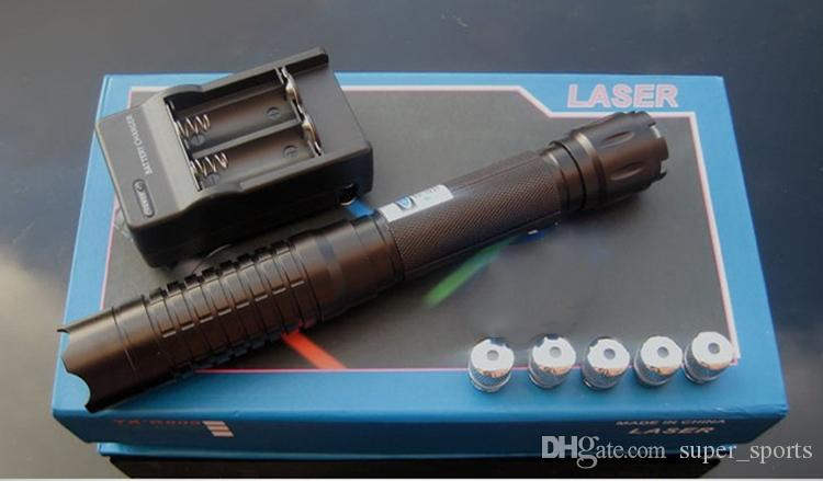 Strong power blue laser pointers pen focus paper plastic 450nm lazer+5 Lens+changer+gift box