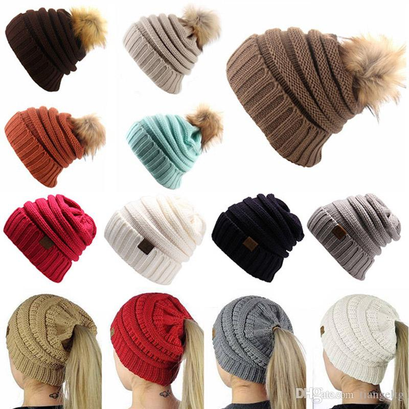 2019 Winter Knitted Wool Cap With Ball Top For Mom And Girls Winter Unisex  Casual Hats Caps Solid Color Hip Hop Skullies Warm Hat From Tiangeltg abd7a42dc72