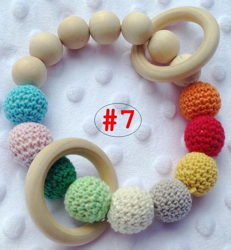 INS Bebê Infantil Rainbow Pulseiras De Madeira Do Bebê Chupetas Mordedor Infantil De Madeira Contas Teethers Beads Handmake Dentição Brinquedos Do Bebê Frete Grátis