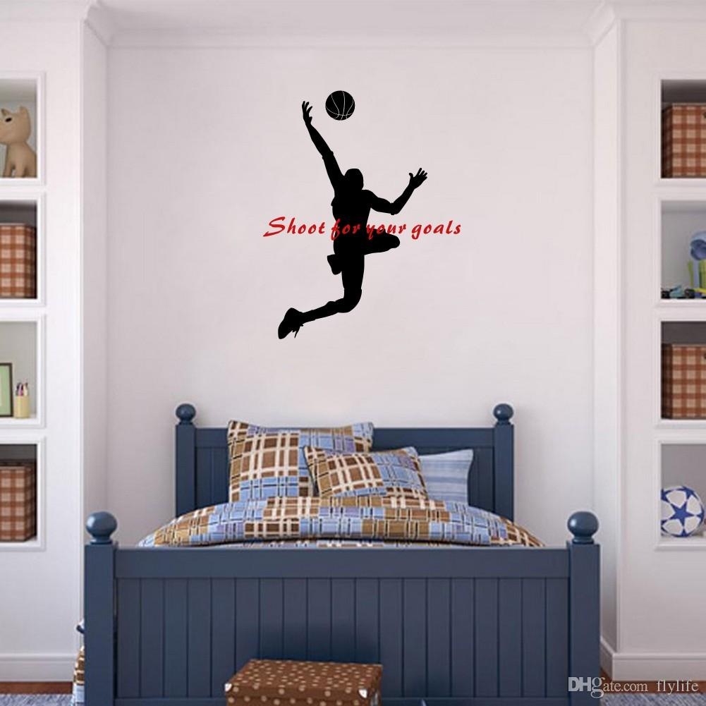 Shoot For Your Goals Basketball Quote Wall Stickers Sport Vinyl Mural Decals  For Boys Room Or Office Decoration Wall Stickers For Bedroom Wall Stickers  For ... Part 35