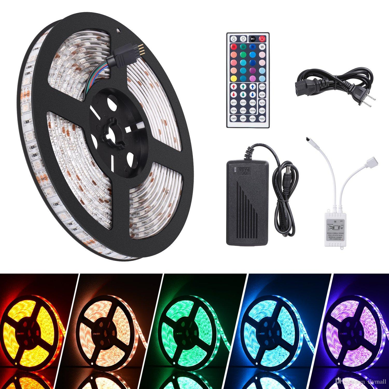 Wholeset 16.4ft RGB LED Flexible Strip Lights 300 Units SMD 5050 LEDs 12V DC Waterproof Light Strips DIY Christmas Home Car Bar Party Light