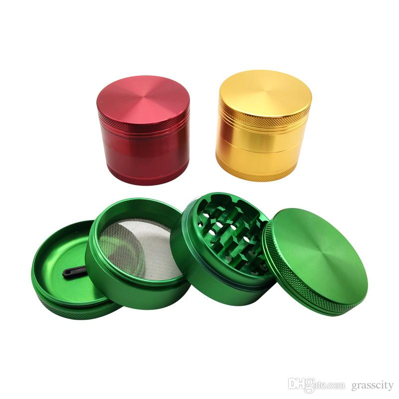 4 parts 55mm Smooth and Durable Aluminum Alloy Metal Herbal Tobacco Cigarette Grinder Smoke Cigar Crusher
