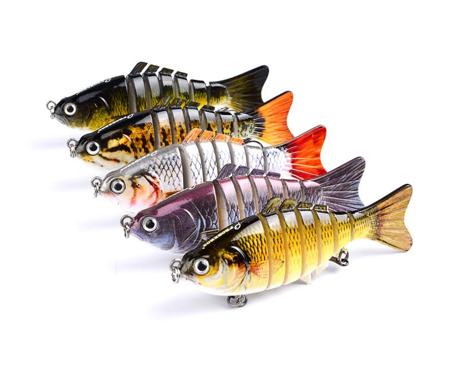 10cm 15.3g Fishing Wobblers 7 Segments Swimbait Crankbait Fishing Lure Bait with Artificial Hooks - Lifelike Fishing Lure