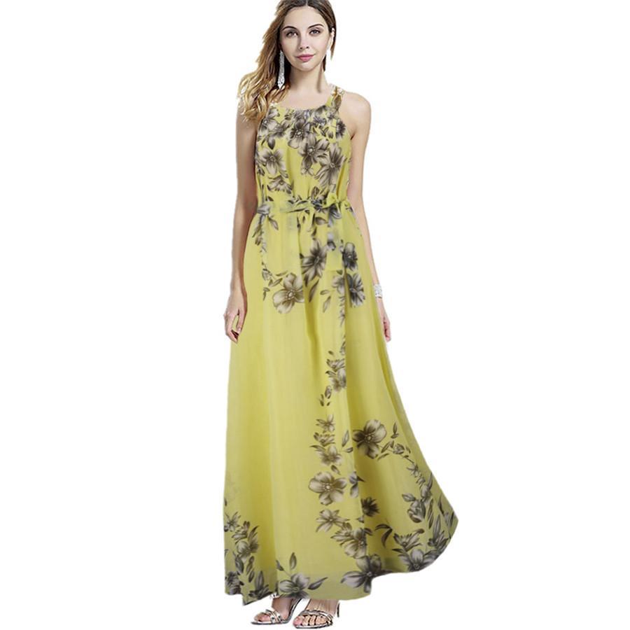 Sexy Summer Dresses Women Bohemia Print Chiffon Dress Floor Length Long Maxi Boho Beach Floral Sundress Vestidos Plus Size