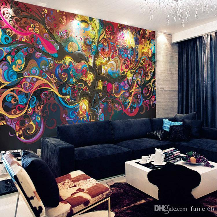 Baum des Lebens Fototapete Psychedelic Wallpaper Benutzerdefinierte 3D Wandbild Kunst Schlafzimmer Schlafzimmer Bar Shop Room decor Natürliche Landschaft