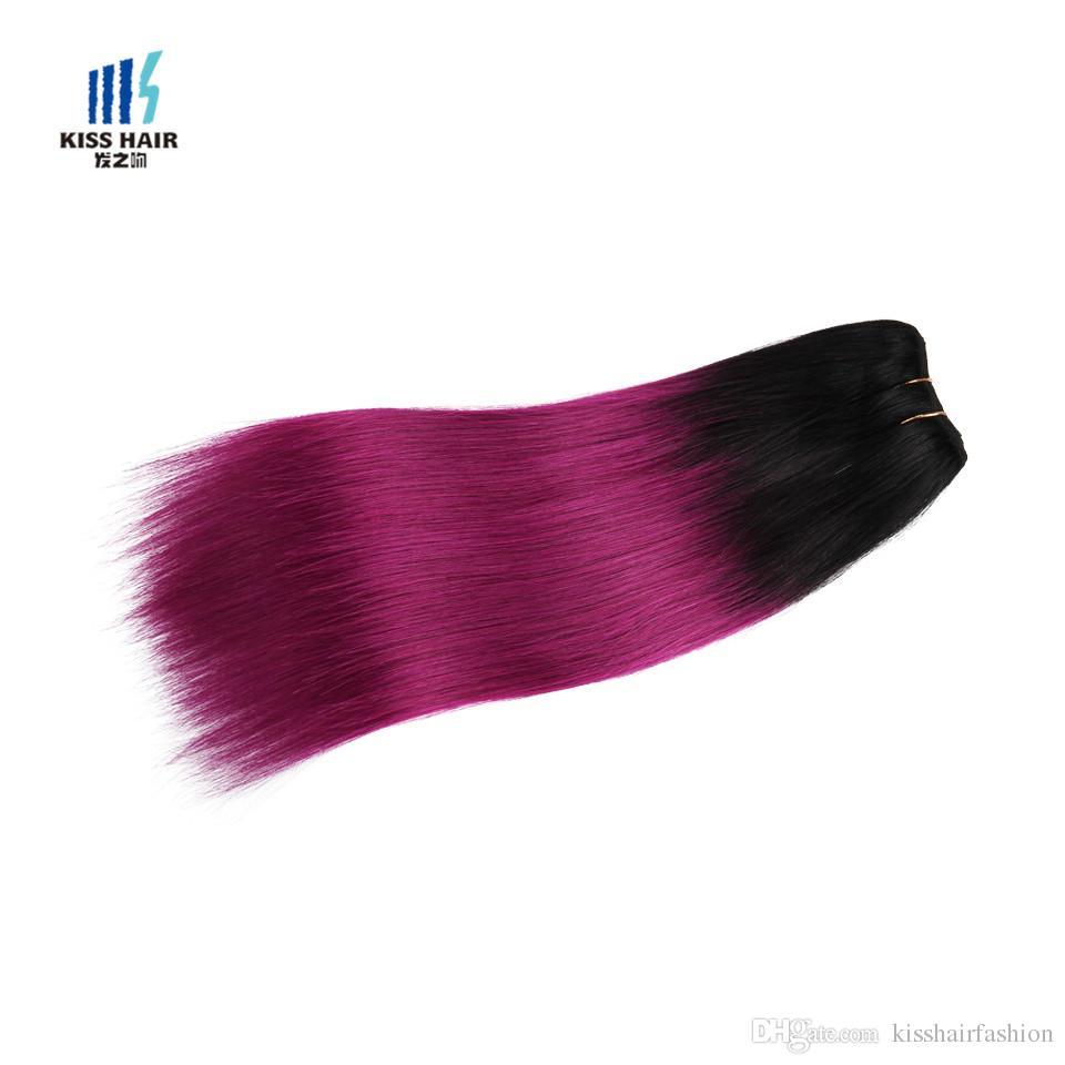 300g Ombre Faisceau De Cheveux Humains Bundles Deux Tons T 1B Vert Bleu Gris Rouge Rose Pourpre Couleur Pourpre Péruvienne Extensions de Cheveux