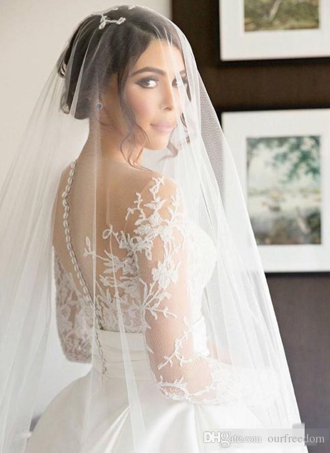 2019 분리 가능한 스커트 얇은 목 긴 소매 쉬 시스 높은 슬릿 Overskirts 신부 드레스와 함께 새로운 분할 레이스 스티븐 카릴 웨딩 드레스