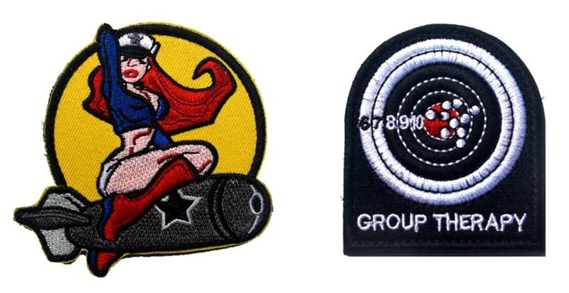 VP-212 Hot Sale 3D Embroidered military patches PINUP GIRL/Group Therapy tactical Badge patch Army armband iron on patch